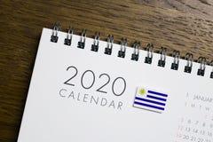 Uruguay Flag on 2020 Calendar.  stock image
