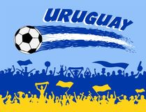 Uruguay flag colors with soccer ball and Uruguayan supporters si. Lhouettes. All the objects, brush strokes and silhouettes are in different layers and the text Stock Photo
