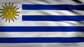 Uruguay flag 3d rendered. Uruguay 2018 flag composed by horizontal lines in white and blue whit a sun in the top left side with a smiley face, fabric texture stock video