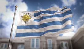 Uruguay Flag 3D Rendering on Blue Sky Building Background Stock Images