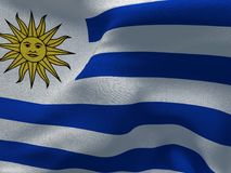 Uruguay flag on a fabric basis. Illustration of a Uruguay flag on a fabric basis Stock Image