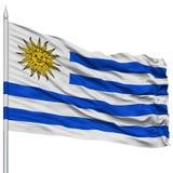 Uruguay Flag on Flagpole Royalty Free Stock Photos