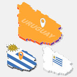 Uruguay flag on map element with 3D isometric shape isolated on background Stock Photography