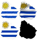 Uruguay flag over map Stock Images