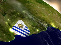 Uruguay with flag in rising sun Stock Photo