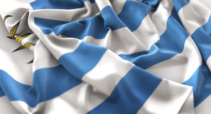 Uruguay Flag Ruffled Beautifully Waving Macro Close-Up Shot. Studio Stock Photography