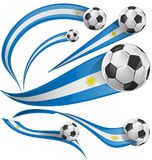Uruguay flag set with soccer ball. Isolated on white Royalty Free Stock Images