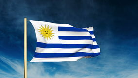 Uruguay flag slider style. Waving in the win with. Uruguay flag slider style. Waving with cloud background animation stock video