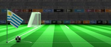 Uruguay flag on a soccer field. 3d illustration. Uruguay flag on a soccer football field. 3d illustration Royalty Free Stock Photography