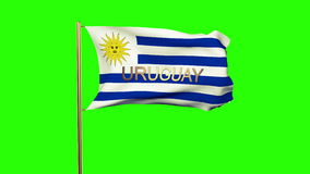 Uruguay flag with title waving in the wind. Loops sun rises style stock video