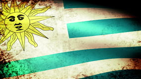 Uruguay Flag Waving, grunge look. Uruguay Flag Waving grunge look, video footage stock video
