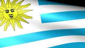 Uruguay Flag Waving. Video footage stock footage