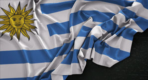 Uruguay Flag Wrinkled On Dark Background 3D Render Royalty Free Stock Image