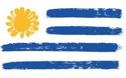 Uruguay-Flaggen-Vektor handgemalt mit gerundeter Bürste Stockbilder