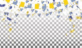 Uruguay flags and Uruguay balloons garland with confetti on whit royalty free illustration