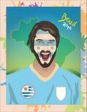 Uruguay football fan. For world cup vector illustration