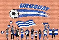 Uruguay-Fußballfane, die mit Uruguay zujubeln, kennzeichnen Farben in der Front stock abbildung