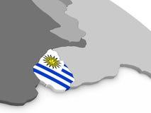 Uruguay on globe with flag Royalty Free Stock Image
