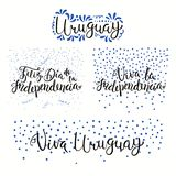 Uruguay Independence Day quotes. Set of hand written calligraphic Spanish lettering quotes for Uruguay Independence Day with stars, confetti, in flag colors Royalty Free Stock Photo