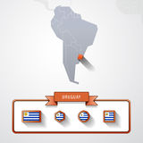 Uruguay info card. Uruguay on the map of South America with flags Royalty Free Stock Image