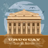 Uruguay landmarks. Theater Solis, Montevideo. Retro styled image. Vector illustration Stock Image