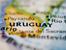 Uruguay Map. Map of Uruguay in Close up Royalty Free Stock Photo