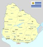 Uruguay map - cdr format. Uruguay map with departments main cities and flag royalty free illustration