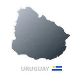 Uruguay map with official flag Royalty Free Stock Photography
