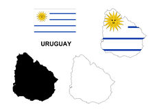 Uruguay map vector, Uruguay flag vector, isolated Uruguay Royalty Free Stock Photo