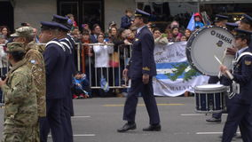 Uruguay marching band drummers in Argentina Bicentennial independence day celebrations. Full shot of Uruguay marching band drummers in Argentina Bicentennial stock video footage