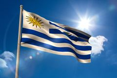 Uruguay national flag on flagpole Stock Photography