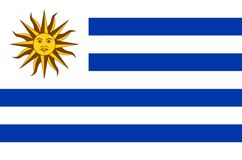 Uruguay national flag. Official flag of Uruguay, accurate colors. True color Stock Image