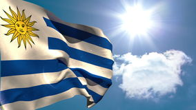Uruguay national flag waving. On blue sky background with sun and clouds stock video