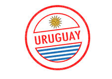 URUGUAY. Passport-style URUGUAY rubber stamp over a white background Stock Photos