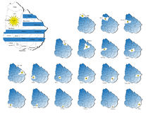 Uruguay-Provinzkarten Lizenzfreies Stockfoto