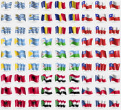 Uruguay, Romania, Chile, Tuva, Djibouti, MyanmarBurma, Albania, Sudan, Czech Republic. Big set of 81 flags. Stock Photo