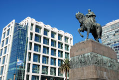 Uruguays government house and Artigas monument Royalty Free Stock Image