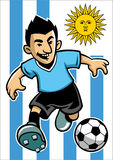 Uruguay soccer player with flag background Royalty Free Stock Images