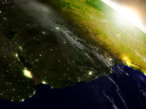 Uruguay from space during sunrise Stock Images