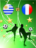 Uruguay versus France on Abstract Green Stars Background Royalty Free Stock Photography