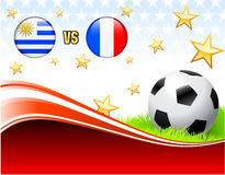 Uruguay versus France on Abstract Red Background with Stars Stock Photos
