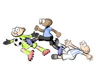 Uruguay vs Argentina Cartoons Soccer players isolated over white Royalty Free Stock Images