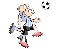 Uruguay vs Argentina Cartoons Soccer players isolated over white Stock Photos