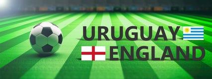 Soccer, football match, Uruguay vs England, 3d illustration Stock Image