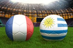 Uruguay vs France football team ball on big stadium background. Uruguay vs France Team competition concept flag on ball team tourn. Ament. Sport competition on Stock Photography