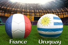 Uruguay vs France football team ball on big stadium background. Uruguay vs France Team competition concept flag on ball team tourn. Ament. Sport competition on Stock Images
