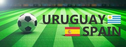 Soccer, football match, Uruguay vs Spain, 3d illustration Stock Image