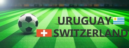 Soccer, football match, Uruguay vs Switzerland, 3d illustration Royalty Free Stock Photos