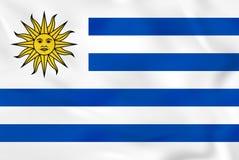 Uruguay waving flag. Uruguay national flag background texture. Vector illustration stock illustration