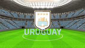 Uruguay world cup message with badge and text. In large digital football stadium stock footage